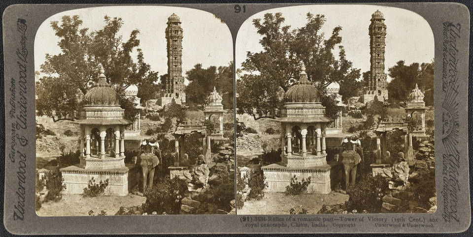 Stamaba views with other relics in Chittorgarh Fort, India 1903_ ⓒ Wikimedia