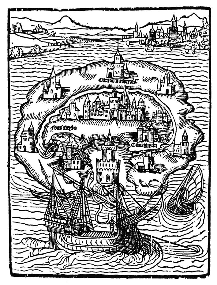 Titelholzschnitt aus Thomas Morus Roman Utopia _ ⓒ Wikimedia