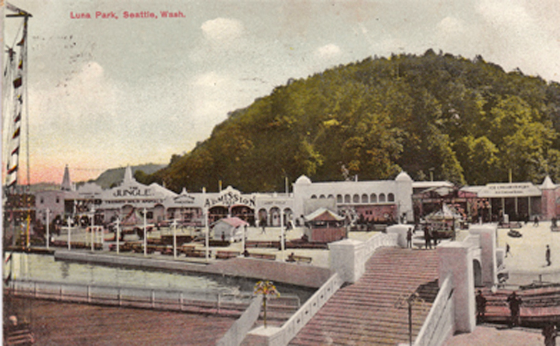 Luna Park, Seattle _ ⓒ Original Postcard, Artist Unknown, Wikimedia