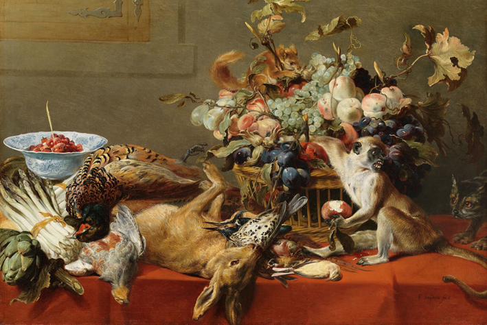 Frans_Snyders_(1579–1657),_Still_Life_with_Fruit,_Dead_Game,_Vegetables,_a_Live_Monkey,_Squirrel_and_Cat