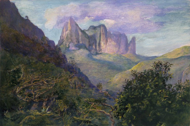 Brooklyn_Museum_Diadem_Mountain_at_Sunset,_Tahiti_-_John_La_Farge_-_overall